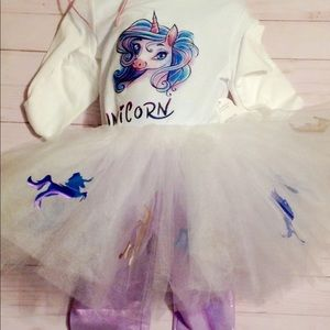 Other - Unicorn Tutu size 5 costume w/ pants and shirt